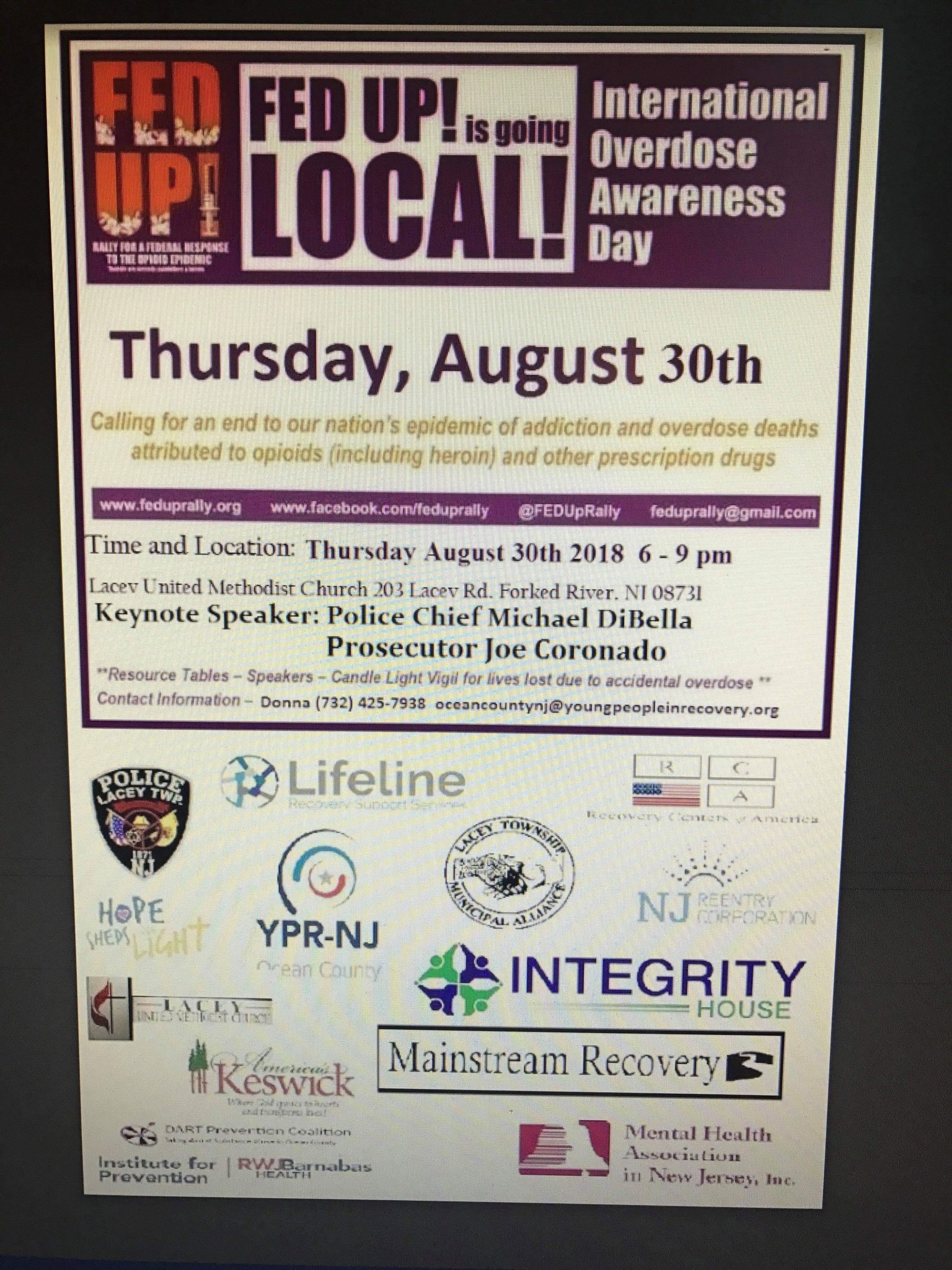 Thursday 08/30: International Overdose Awareness Day