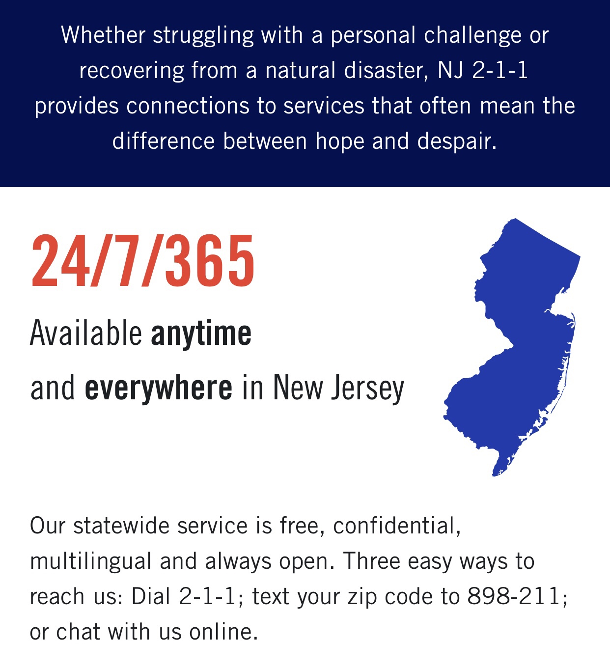 Need Help? Dial 2-1-1 in N.J. 24/7 for non/police…