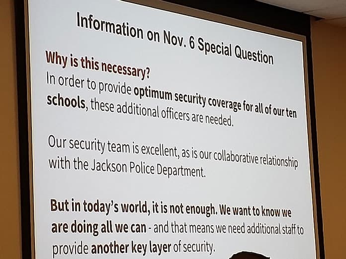 JACKSON: Referendum Would Hire Six Security Guards For Schools
