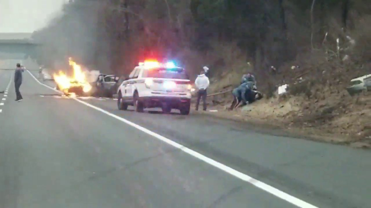 howell: erratic driver - mva with car fire on 195 | ocean county