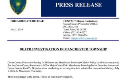Manchester: OCPO Press Release regarding death investigation