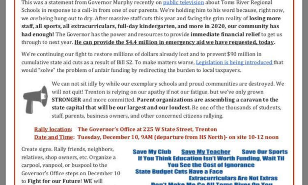 TOMS RIVER: Rally to Save the Schools!