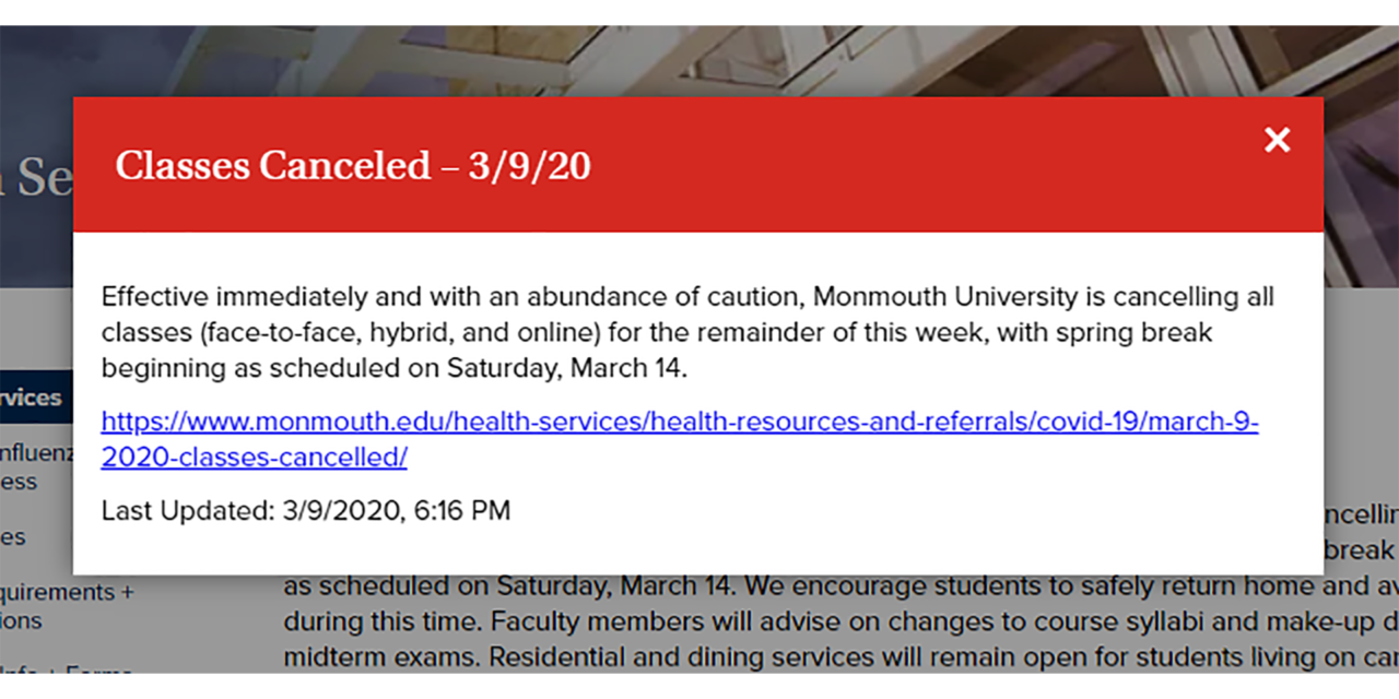 MONMOUTH UNIVERSITY: Classes Canceled