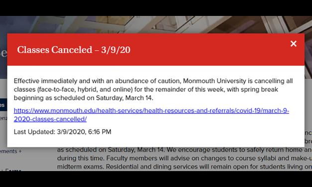 MONMOUTH UNIVERSITY: Classes Canceled