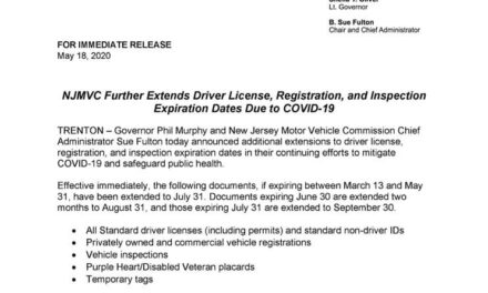 NJ MVC (DMV) Extends Expiration Dates