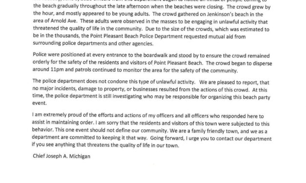 PT. PLEASANT BEACH: Chief of Police Issues Statement on Yesterday's Large Gathering