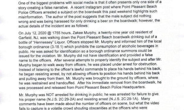 PT. PLEASANT BEACH: Press Release Regarding Recent Social Media Videos