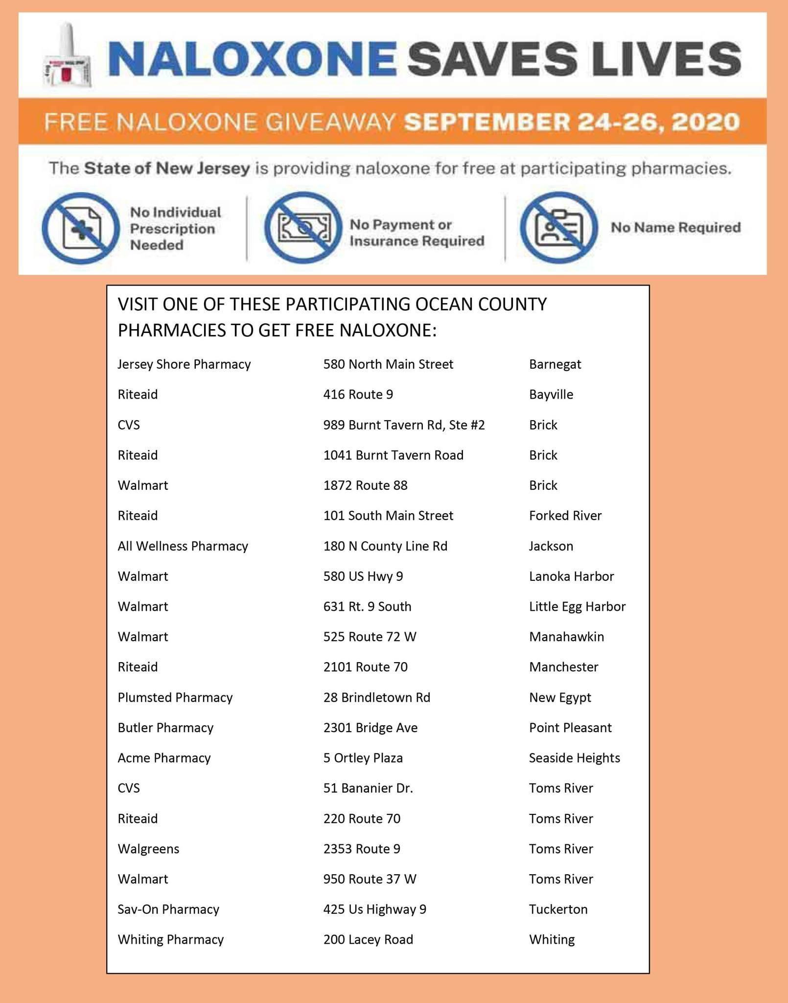 FREE Narcan Kits: September 24-26 @ Participating Pharmacies in NJ
