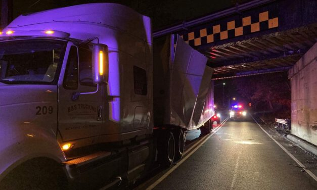 HOLMDEL: Truck Ignores Warning Signs- Crashes Into Overpass