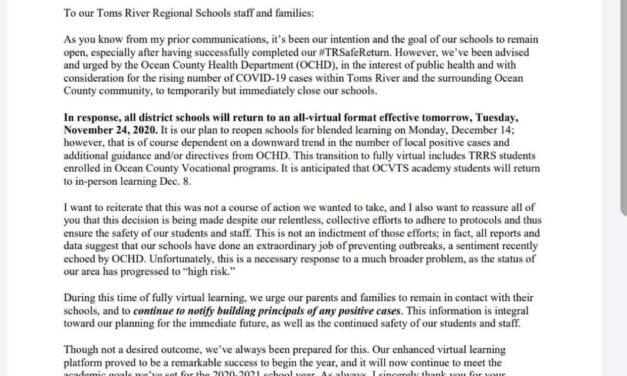 TOMS RIVER: Schools Return to All-Virtual- Tuesday