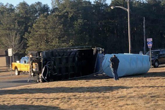 BERKELEY: Brine Truck Overturns at Miller Air Park