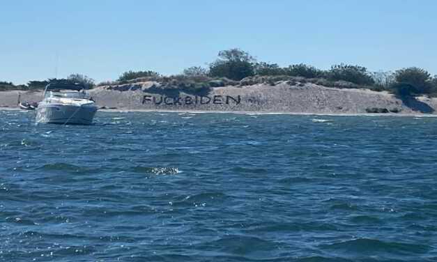 F*** Joe Biden Sign written Near Barnegat Lighthouse