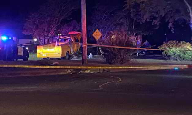 Accident in Brick With 2 Poles Damaged, Hitting Median, and Landing in Front Yard