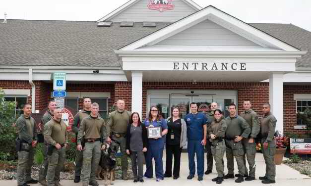 NJ TROOPERS GIVE MT LAUREL ANIMAL HOSPITAL PLAQUE FOR SAVING K-9 THAT WAS STABBED